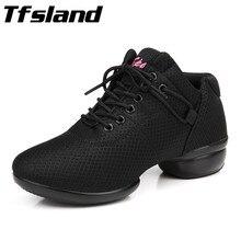 Tfsland Nuevas Mujeres Suave Transpirable Zapatos de Baile Cuadrados Calidad Girls Sneakers Baile de salón de Baile de Salsa Zapatos de Baile de Jazz Femenina Regalo