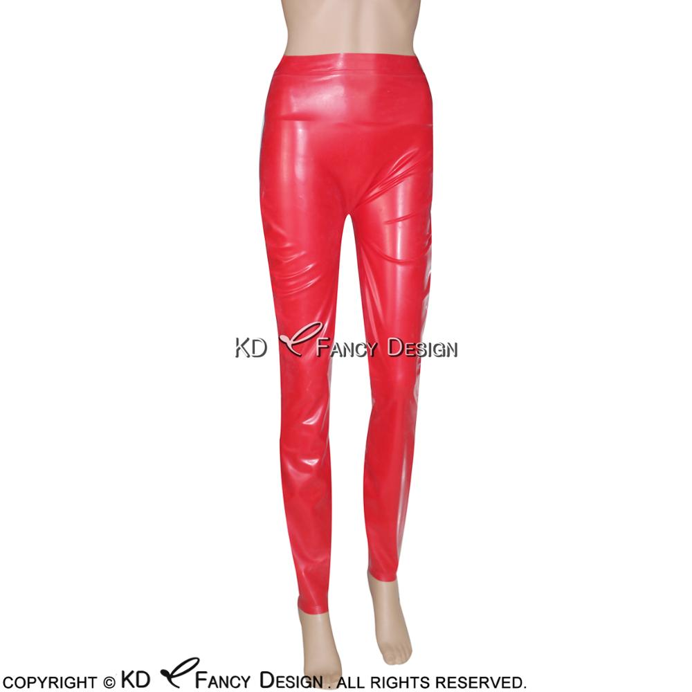 Rot Sexy Latex Leggings Gummi Hosen Jeans Hosen Bottoms Plus Größe CK 0004