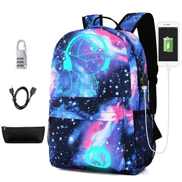 Новый световой школьные сумки для мальчика звездное небо студент рюкзак плеча 15-16 дюймов с зарядка через usb Порты и разъёмы замок рюкзаки