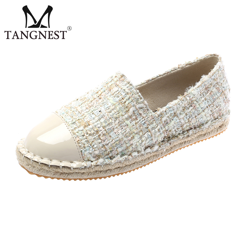 Tangnest Spring Women Loafers Platform Flats Hemp Shallow Bright Round Toe Creepers Slip On Female Casual Fashion Shoes XWD7300Tangnest Spring Women Loafers Platform Flats Hemp Shallow Bright Round Toe Creepers Slip On Female Casual Fashion Shoes XWD7300