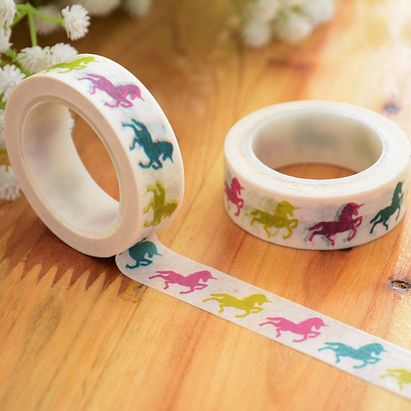 10pcs/lot DIY Paper Japanese Washi Masking Tapes Cute Horse Unicorn Decoration Adhesive Tapes Scrapbooking 15mm*10m Wholesale
