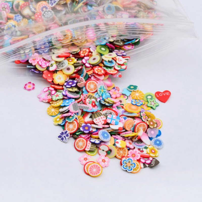 Ceramica morbido 1000pcs fette di Frutta di Riempimento Per Le Unghie Punte di Arte Melma di Frutta Per I Bambini Lizun FAI DA TE Slime Accessori Forniture decorazione
