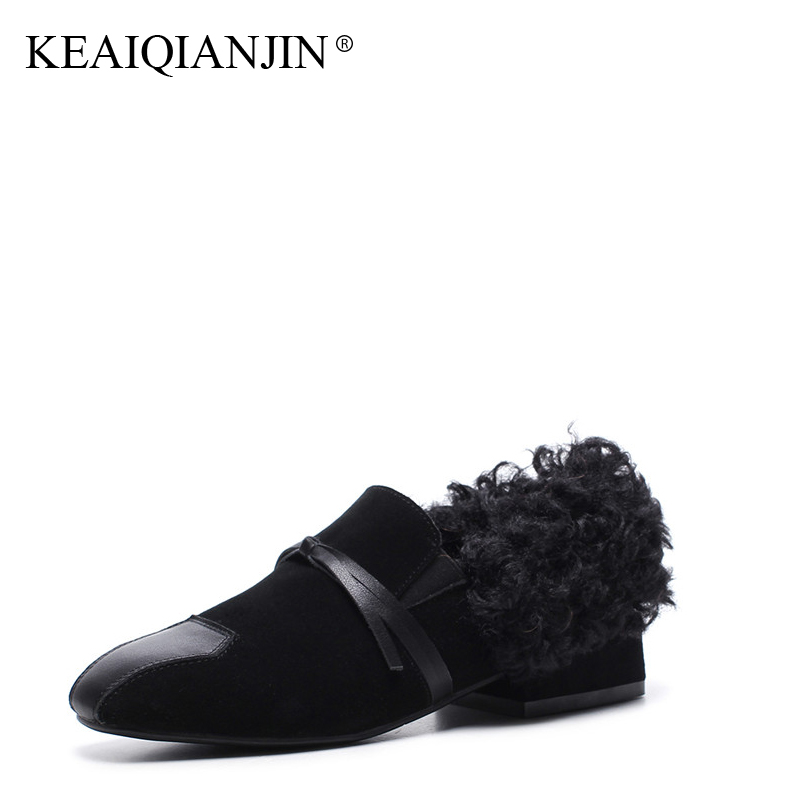 KEAIQIANJIN Woman Genuine Leather Flats Black Brown Plus Size 34 - 43 Autumn Winter Derby Shoes Butterfly Genuine Leather Shoes keaiqianjin woman sheepskin flats black red silvery plus size 33 41 spring autumn derby shoes lace up genuine leather shoes