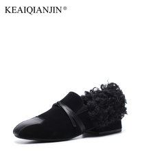 KEAIQIANJIN Woman Genuine Leather Flats Black Brown Plus Size 34 – 43 Autumn Winter Derby Shoes Butterfly Genuine Leather Shoes