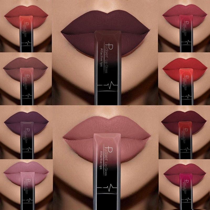 New 21 Colors Brand Lip Gloss Long Lasting Waterproof Liquid Lips Tint Sexy Nude Batom Matte Liquid Lipstick Metallic Lip Stick