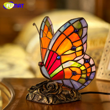 FUMAT Stained Glass Butterfly Lighting Colorful RGBW With Remote LED Decor Art Light Simulation Butterfly Lampshade Table Lights