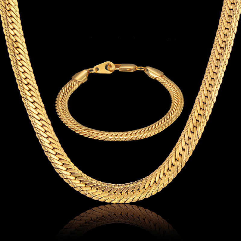 Dubai Jewelry Sets Men Jewelry 8MM Hiphop Gold Color African Big Snake Chain Mens Bracelet Necklace Chain Set