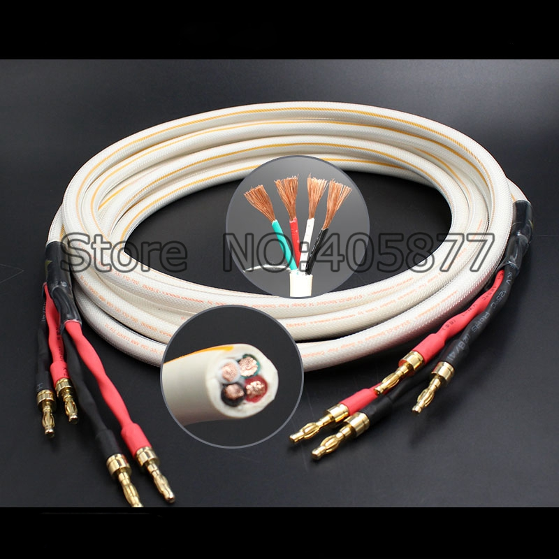 High Quality Copper Speaker Cable Audio hifi loudspeaker Cable Audiophile speaker cable the one loudspeaker cable spade plug hifi speaker cable 100% brand new audiophile speaker cable 2 5m with original box