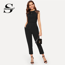 Sheinside Elegant Eyelash Lace Sleeve Black Jumpsuits Women 2019 Summer Solid Casual Mid Waist Jumpsuits Tapered Maxi Jumpsuits(China)