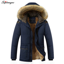 Mens Warm Hooded 2017 Thick Fleece Fur Winter Outwear Male Jacket Padded Coat Jackets for Men;chaqueta hombre