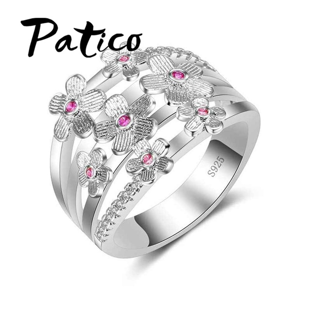 PATICO High Quality Elegance 925 Sterling Silver Wedding Bands Rings Pink Sakura