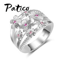 PATICO High Quality Elegance S90 Silver Color Wedding Bands Rings Pink Sakura Flower Jewelry Gifts For Women Anniversary(China)