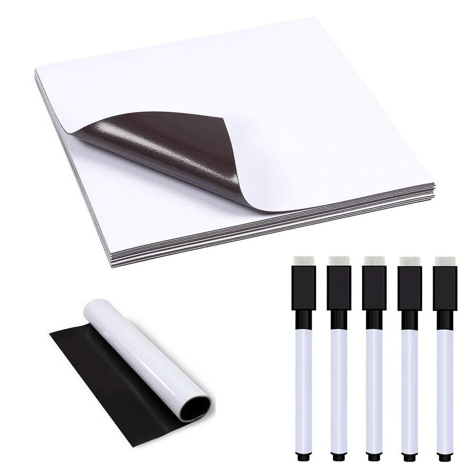 5pcs A5 Magnetic Whiteboard Fridge Magnet 5 Black Marker Pens Vinyl Flexible Sticker Dry wipe Notepad Planner Board Memo