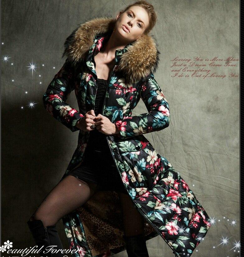 Donne Giù Marchio Giacca 2015 Giacca Invernale Donne Giù Parka grande pelliccia di procione giù ricopre Downs Giacche Cappotto Outwear spessore 1