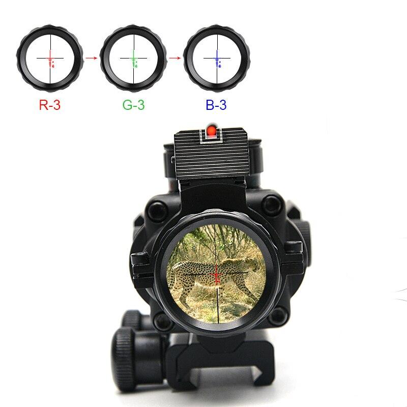 Lunette de visée optique tactique 4X32 rouge et vert et bleu avec lunette de fusil à Fiber réticule Tri-illuminée pour lunettes de chasse Caza