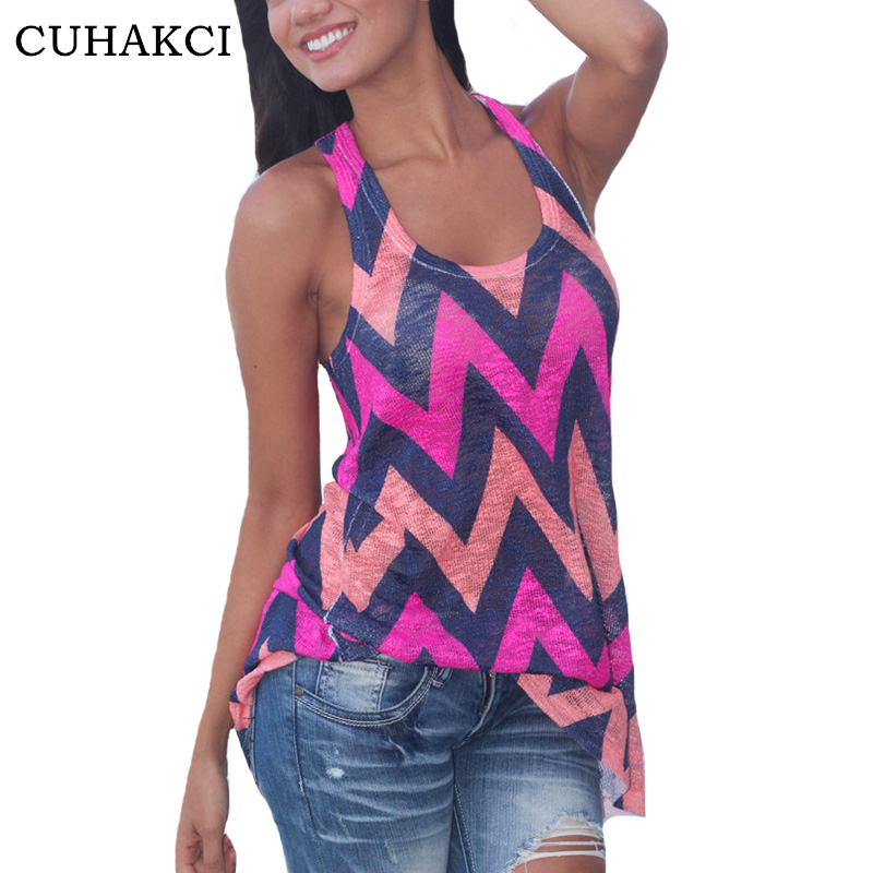 Cuhakci Sexy Tank Women Camisole Vest Geometric Print Tops -9630
