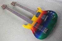Бесплатная доставка Новый Одежда высшего качества музыкальный инструмент двойная Радуга шеи разноцветные 6 строка Гитары 4 Строка bass1117