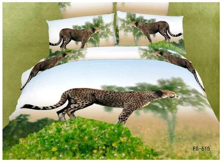 0aa103bd29 Leopardo chita animal print 3D conjuntos de cama queen size colcha designer  de capa de edredon cama em um saco de folhas de óleo de algodão pintura
