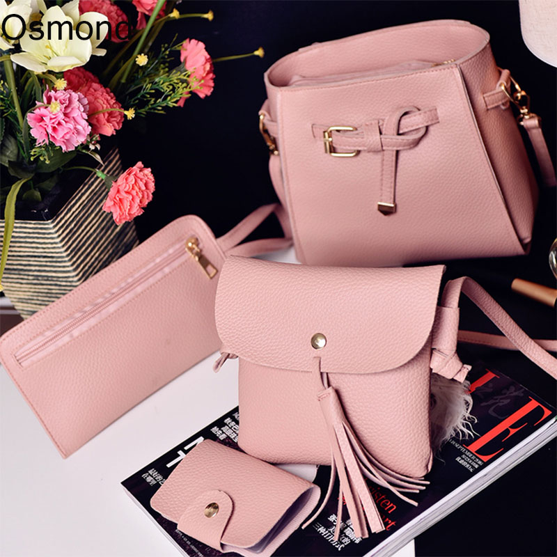 Osmond Fashion Litchi Handbag Set Pu Leather Composite Bag Shoulder Bags Pink Women 2017 Crossbody Small Purse Clutch Girl Black