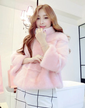 New Hot designer Winter Coat Natural Rabbit pink Fur Outwear cheap For Womens faux Fur warm Knitted fashion outwear thick jacket