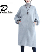 Fleece Lined Warm Plus Size Turtleneck Lantern Sleeve Mid Long Dresses Women 2018 Winter Solid Casual Loose Jumper Tunic Dress