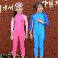 Children Swimsuit Sport Boys Girls One Piece Swimwear Long Sleeve Swimming Clothes Solar Protection Children's Swimwear 2 9Yrs