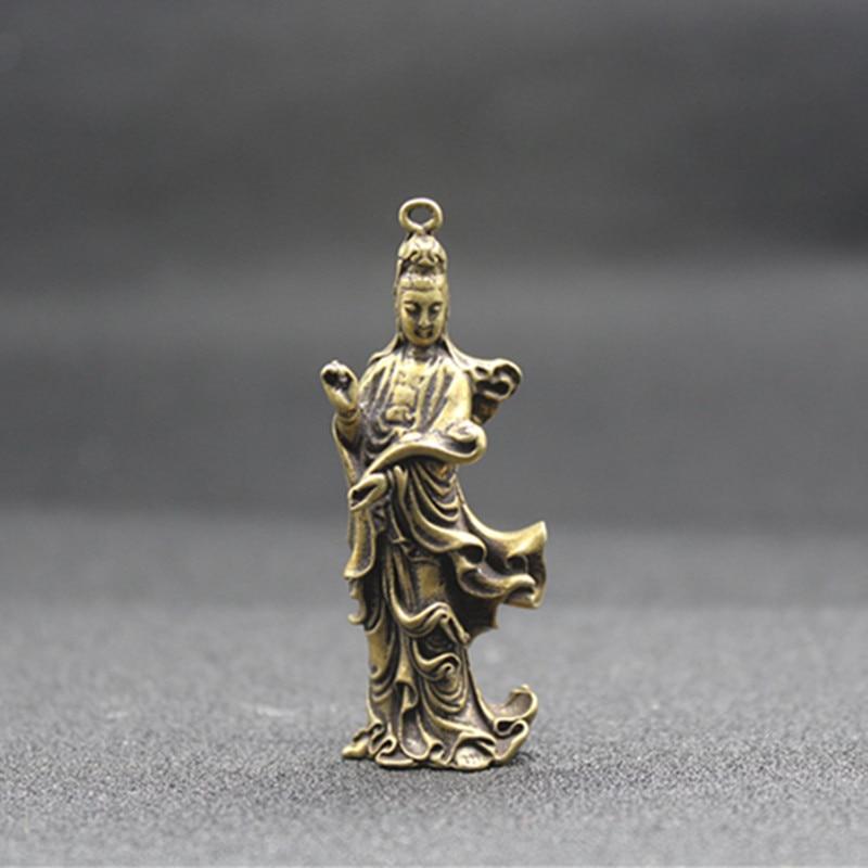(mini) Delicate Chinesische Alte-stil Messing Geschnitzt Guanyin Bodhisattva Auspicious Statue No. 2 Modische Und Attraktive Pakete