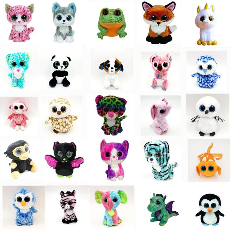 10pcs/set 18cm TY Beanie Boos Big Eyes Plush Toy Doll The Unicorn Kawaii ty Stuffed Animals for Children's Christmas Gifts Toy gonlei ty beanie boos original big eyes plush toy doll child birthday gray elephant fish ty baby 10 15cm