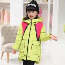 2016 Мода Зима детские Пальто Верхняя Одежда С Капюшоном Вниз Парки Куртки Для Девочек-30 градусов Infantis Телогрейки Новый прибытие