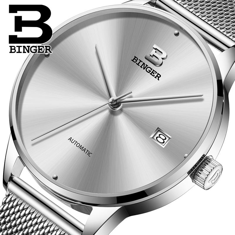 Genuine Luxury BINGER Brand Men full steel automatic mechanical male self-wind simple style casual ultrathin watch calendar
