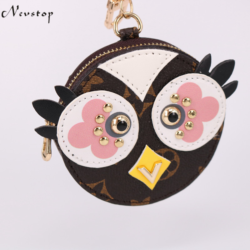 2018 Cute Fluffy Owl Keychain Rex Rabbit Fur Pompoms Key Chain Fur Pom Pom Keychain Bag Charm Car Pendant Key Ring Holder