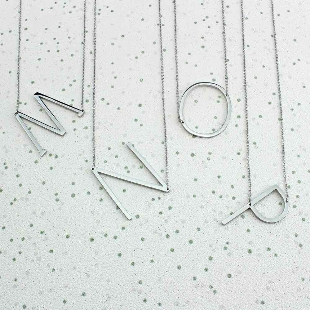 Duże inicjały naszyjnik ze stali nierdzewnej 316L zawieszka w kształcie litery Choker A-Z naszyjnik kobiety nowoczesna biżuteria srebrny duży naszyjnik listowy