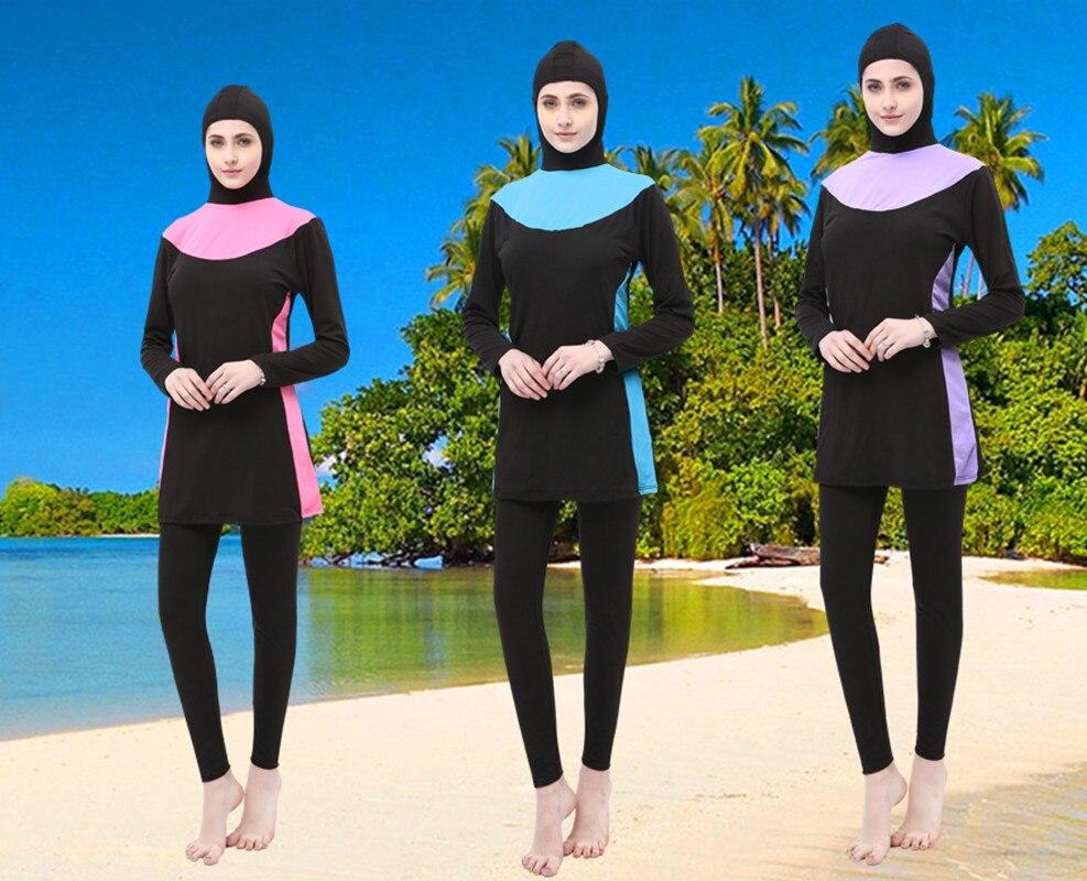 Deux-Pièce Musulman Femmes Spa Maillots De Bain Islamique Maillot De Bain en Plein Visage Hijab Piscine Beachwear Maillot de Bain Sport Vêtements Burkinis