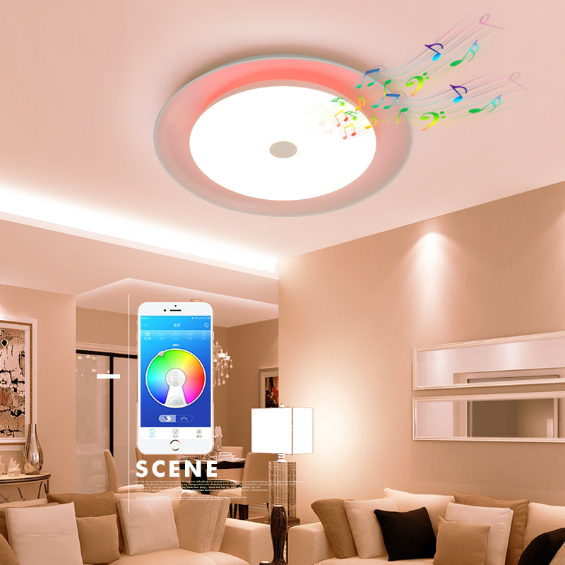 Современный светодио дный светодиодный потолочный светильник RGB Dimmable 52 Вт приложение управление Bluetooth и музыка потолочные светильники Гост