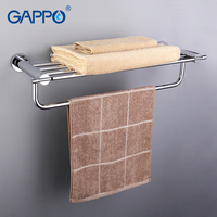GAPPO Top Quality Wall Mounted Bathroom Shelves Bathroom Shelves Restroom Shelf Hardware Accessories In Two Hooks