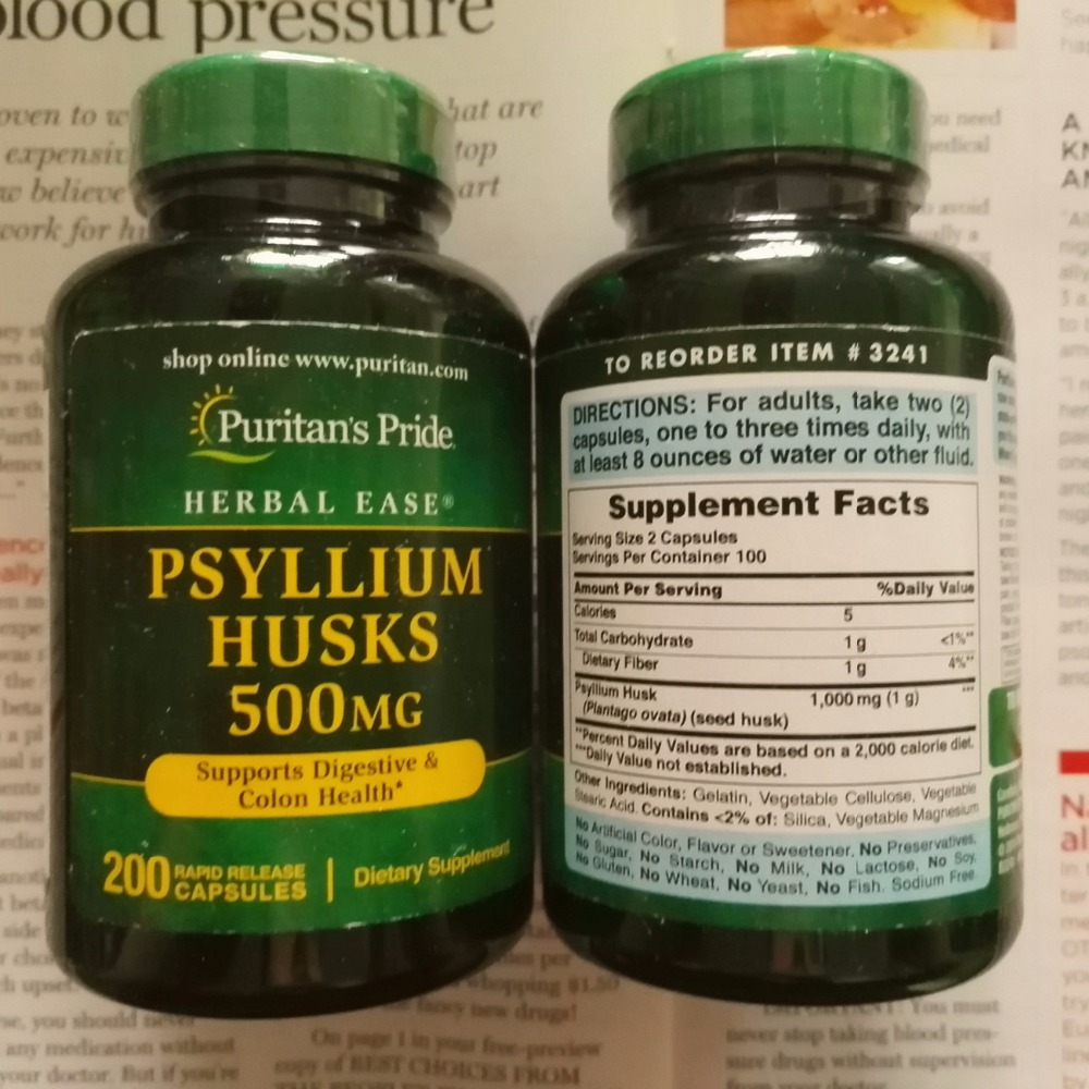 Free shipping Psyllium Husks 500 mg 200 pcs