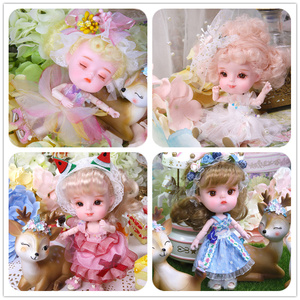 Image 2 - 1/12 BJD 26 Joint Body 14CM Mini doll DODO ob11 doll with outfit shoes makeup dolls and box combination Set gift toys