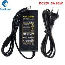 цена на 2Pieces 12V 5A 60W Power Supply Adapter EU/US/UK/AU Plug AC 100-240V to DC 12V Transformer for Security CCTV Camera