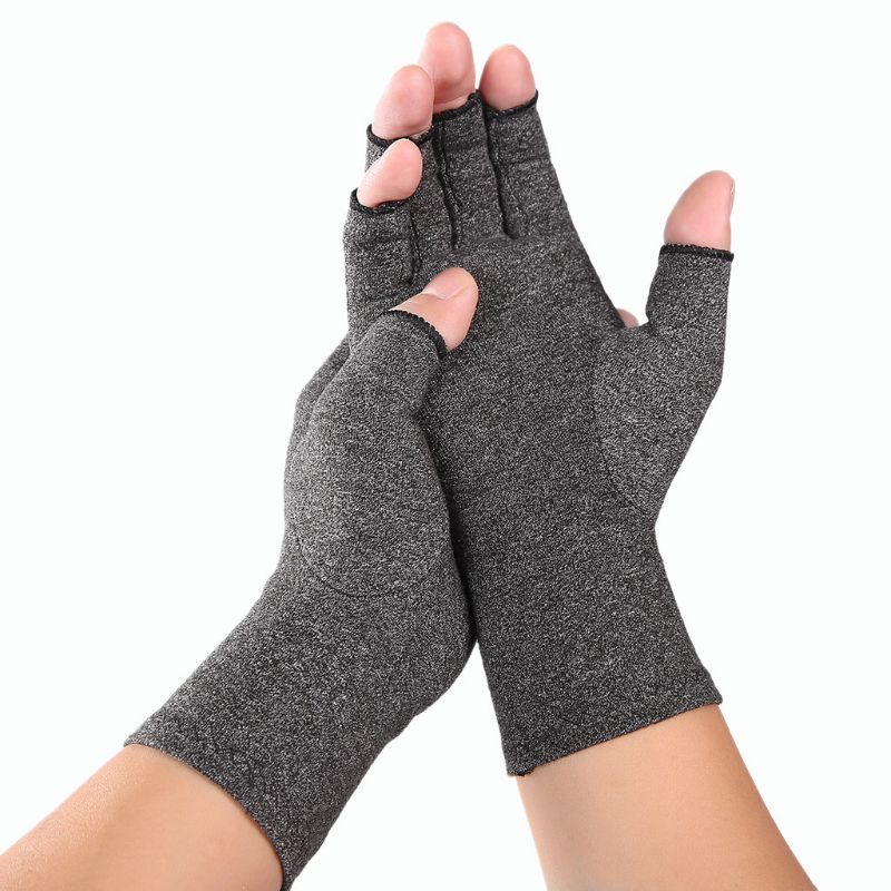 Women Men Arthritis Compression Gloves Fingerless Joint Pain Relief Rheumatoid Osteoarthritis Hand Wrist Support Therapy Mittens