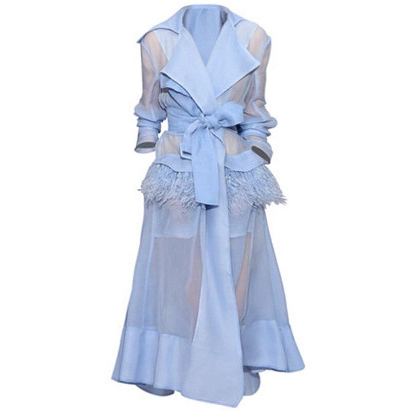 2019 Summer Autumn Elegant Vintage Long Sleeve Feathers Organza Madi calf turn down collar belted Dress