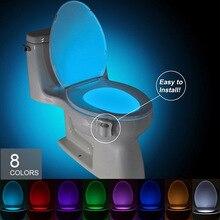 8 цветов умная ванная комната туалет Ночная Светодиодная лампа для уборной подсветка для унитаза WC, сиденье для унитаза с датчиком движения
