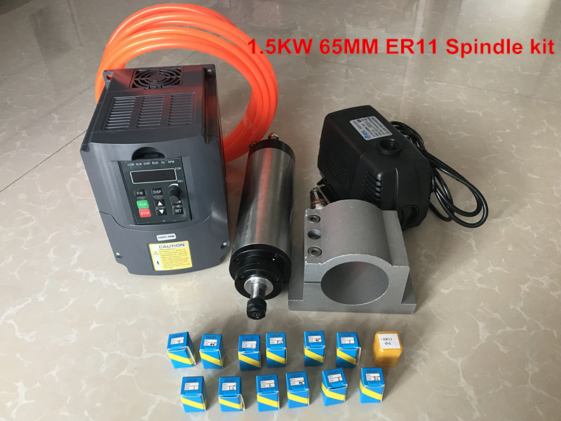 CNC Router Spindle Kit 1.5kw Water Cooled Spindle Motor 65mm + 220v VDF Inverter +65mm Clamp +80w 3.5m Pump +5m Pipe +1set Er11 water cooling spindle sets 1pcs 0 8kw er11 220v spindle motor and matching 800w inverter inverter and 65mmmount bracket clamp