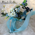Romántico Barato Niña de las Flores Azules Buket 2016 Artificial Peony Ramos De Novia Flor de La Boda Ramo de Novia Para Las Damas de Honor
