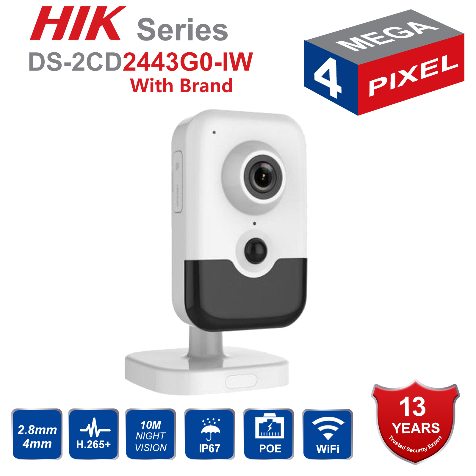 Original HIK Wireless Security Camera DS-2CD2443G0-IW POE IP Camera Onvif Indoor 4MP IR Cube WiFi Camera