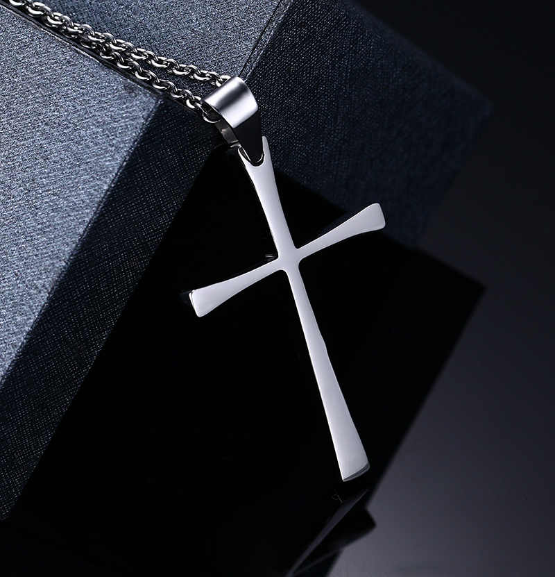 Meaeguet トレンドクリスチャンクロスペンダントネックレス男性 316L ステンレス鋼チェーンブティックイエス十字架ネックレス