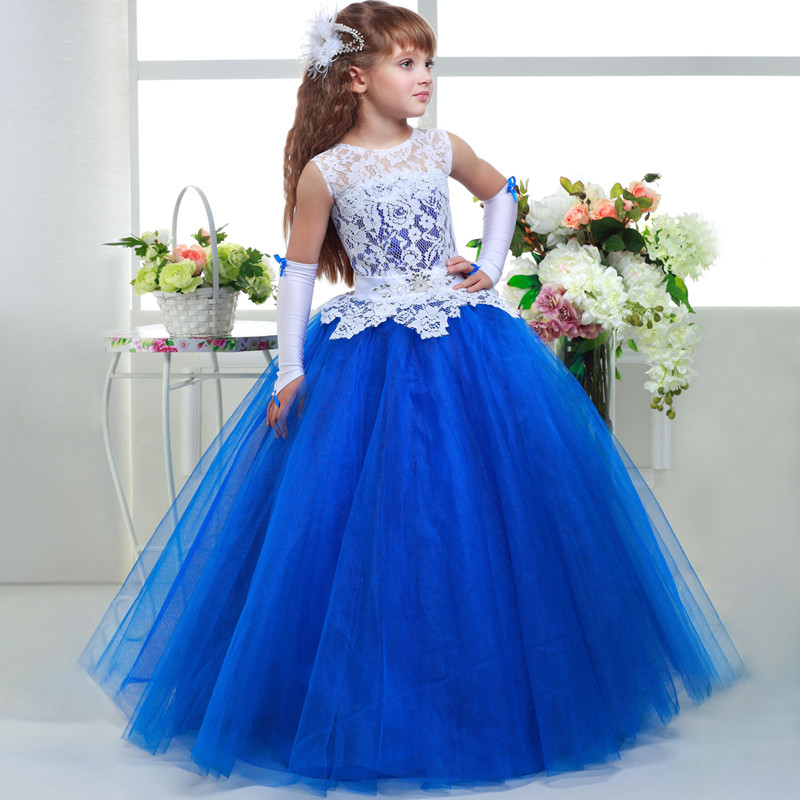 Luxury Blue Flower Girl Wedding Dress 2018 New Graduation Gowns Children Scoop Neck Lace First Communion Dress for Girls Pageant light blue scoop neck crochet floral lace trim cami top