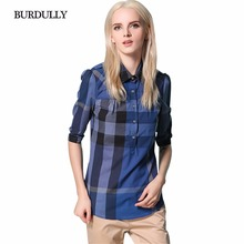 BURDULLY New 2017 Women's Plaid Blouse Shirt Female Shirt Blusa Ladies Patchwork Shirts Casual Turn Down Collar Blouses Summer