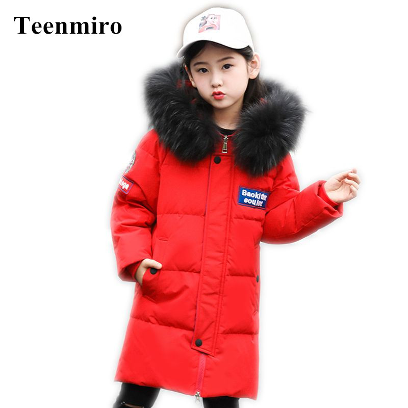 2018 Kids Winter Coat for Girls Long Padded Children Jacket Warm Thick Hooded Duck Down Boy Coats Baby Clothes Ouertwear Casacos dhl ems 2 sets 1pc new sick im30 15nds zw1