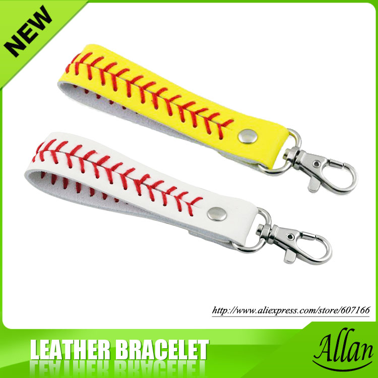 Gum For Keychain Sport Seamed Lace Leather key Chain Herringbone Softball Fast Pitch Baseball Stitch Keychain  7 color-in Key Chains from Jewelry & Accessories    1
