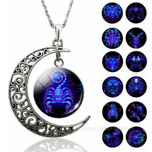 Hot Fashion 12 Constellation Crescent Moon Necklaces Glass Dome Jewelry Zodiac Signs Pendant Women Birthday Gifts Dropshipping
